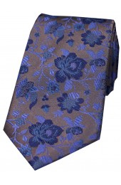 Soprano Grey And Blue Floral Patterned Silk Tie