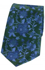 Soprano Forest Green Floral Patterned Silk Tie