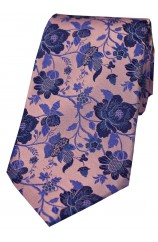 Soprano Dusky Pink Floral Patterned Silk Tie