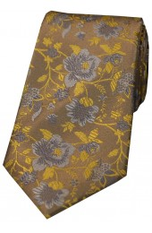 Soprano Camel And Gold Floral Patterned Silk Tie