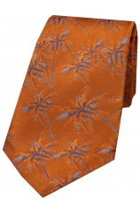 Soprano Burnt Orange Palm Tree's Silk Tie