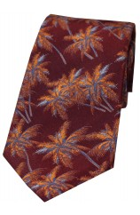 Soprano Maroon & Burnt Orange Palm Tree's Silk Tie