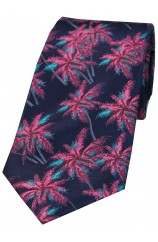 Soprano Navy & Fuchsia Palm Tree's Silk Tie