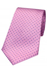 Soprano Pink With Blue Pin Dot Silk Tie