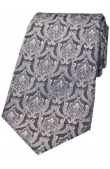 Soprano Grey Silver Victorian Wallpaper Pattern Silk Tie