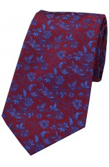 Soprano Wine With Small Flowers Pattern Silk Tie