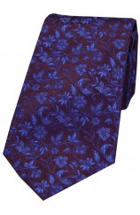Soprano Purple With Small Flowers Pattern Silk Tie