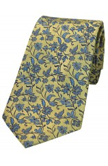 Soprano Gold With Small Blue Flowers Silk Tie