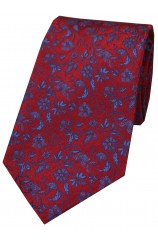Soprano Red With Small Blue Flowers Silk Tie