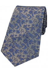 Soprano Silver With Small Blue Flowers Silk Tie