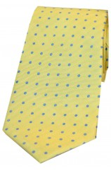 Soprano Yellow With Small Blue Spots Silk Tie