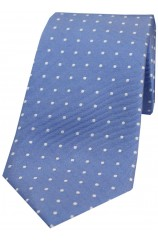 Soprano Blue With Small White Spots Silk Tie