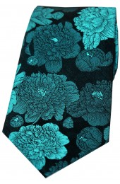 Soprano Turquoise And Teal Large Flowers Silk Tie
