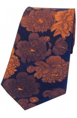 Soprano Brown And Burnt Orange Large Flowers Silk Tie