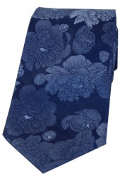 Soprano Large Blue Flowers Luxury Silk Tie