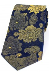 Soprano Navy Ground With Large Gold Flowers Silk Tie