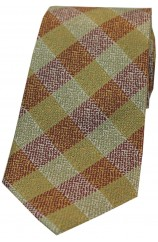 Soprano Burnt Orange and Green Check Patterned Silk Tie