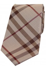 Soprano Brown Large Check Silk Tie