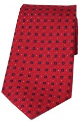 Soprano Neat Navy Box Pattern on Red Ground Silk Tie