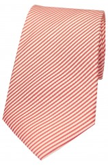 Soprano Pastel Red and White Thin Striped Silk Tie