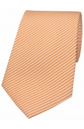 Soprano Pastel Orange and White Thin Striped Silk Tie