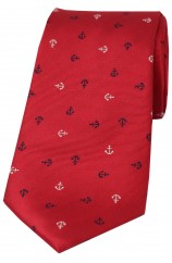 Soprano White and Navy Boat Anchors on Red Ground Silk Tie