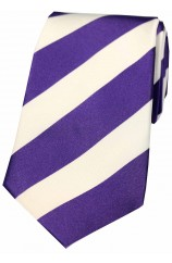 Soprano Purple and White College Striped Silk Ties