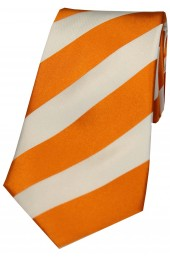 Soprano Orange and White College Striped Silk Tie