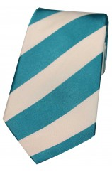 Soprano Cyan and White College Striped Silk Ties