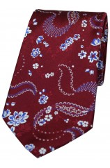 Soprano Wine Mens Flower Pattern Silk Tie