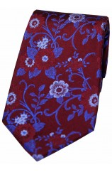Soprano Wine with Blue Flowers Silk Tie