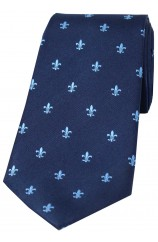 Soprano Sky Blue Fleur de Lys on Navy Ground Silk Tie