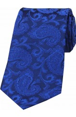 Soprano Royal Blue Paisley Woven Silk Tie