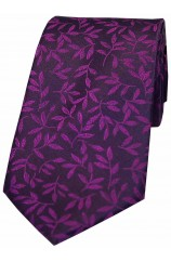 Soprano Purple Leaf Pattern Silk Tie