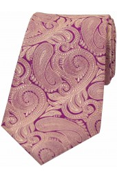 Soprano Purple Ground With Fuchsia Paisley Luxury Silk Tie