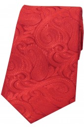 Soprano Red Ground Tonal Paisley Luxury Silk Tie