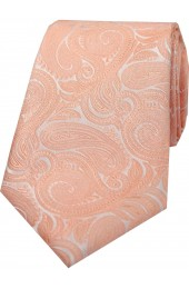 Soprano Peach Luxury Paisley Silk Tie