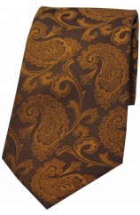 Soprano Bronze Luxury Paisley Silk Tie