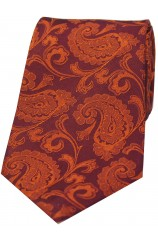 Soprano Rust Luxury Paisley Silk Tie