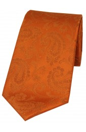 Soprano Burnt Orange Luxury Paisley Silk Tie