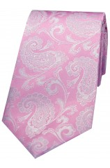 Soprano Cotton Candy Pink Paisley Silk Tie