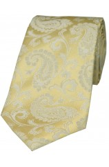 Soprano Wedding Gold Paisley Silk Tie