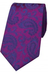 Soprano Luxury Plum And Blue Paisley Silk Tie