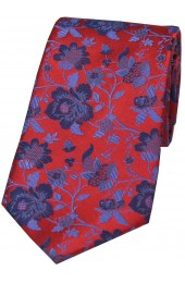 Soprano Red Floral Patterned Silk Tie