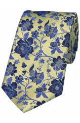 Soprano Gold With Blue Floral Pattern Silk Tie