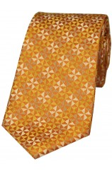 Burnt Orange Windmill Design Silk Tie