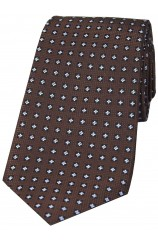 Brown Neat Small Flowers design Silk Tie