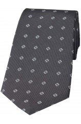 Grey Small Floral Patterned Silk Tie