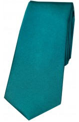 Soprano Teal Satin Silk 6cms Wide Thin Tie