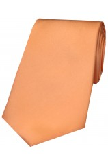 Soprano Peach Plain Satin Silk Tie